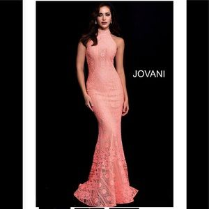 Jovani High Neck Racer Lace 57400 coral nude,NWT